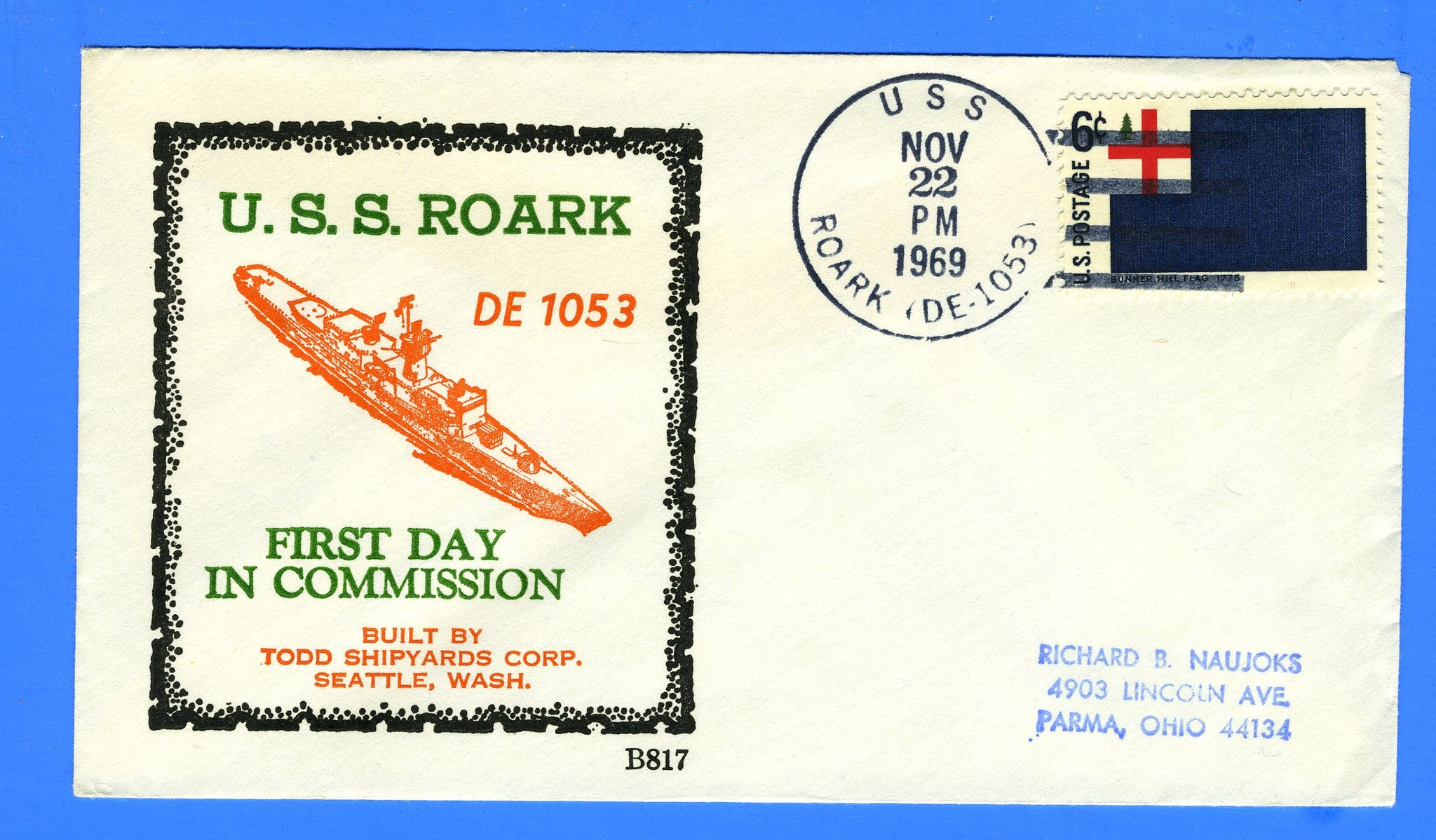 USS Roark DE-1053 Commissioned November 22, 1969 - Beck B817