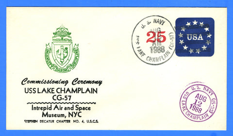 USS Lake Champlain CG-57 Commissioned August 12, 1988 - Cachet by USS Decatur Chapter No. 4, USCS