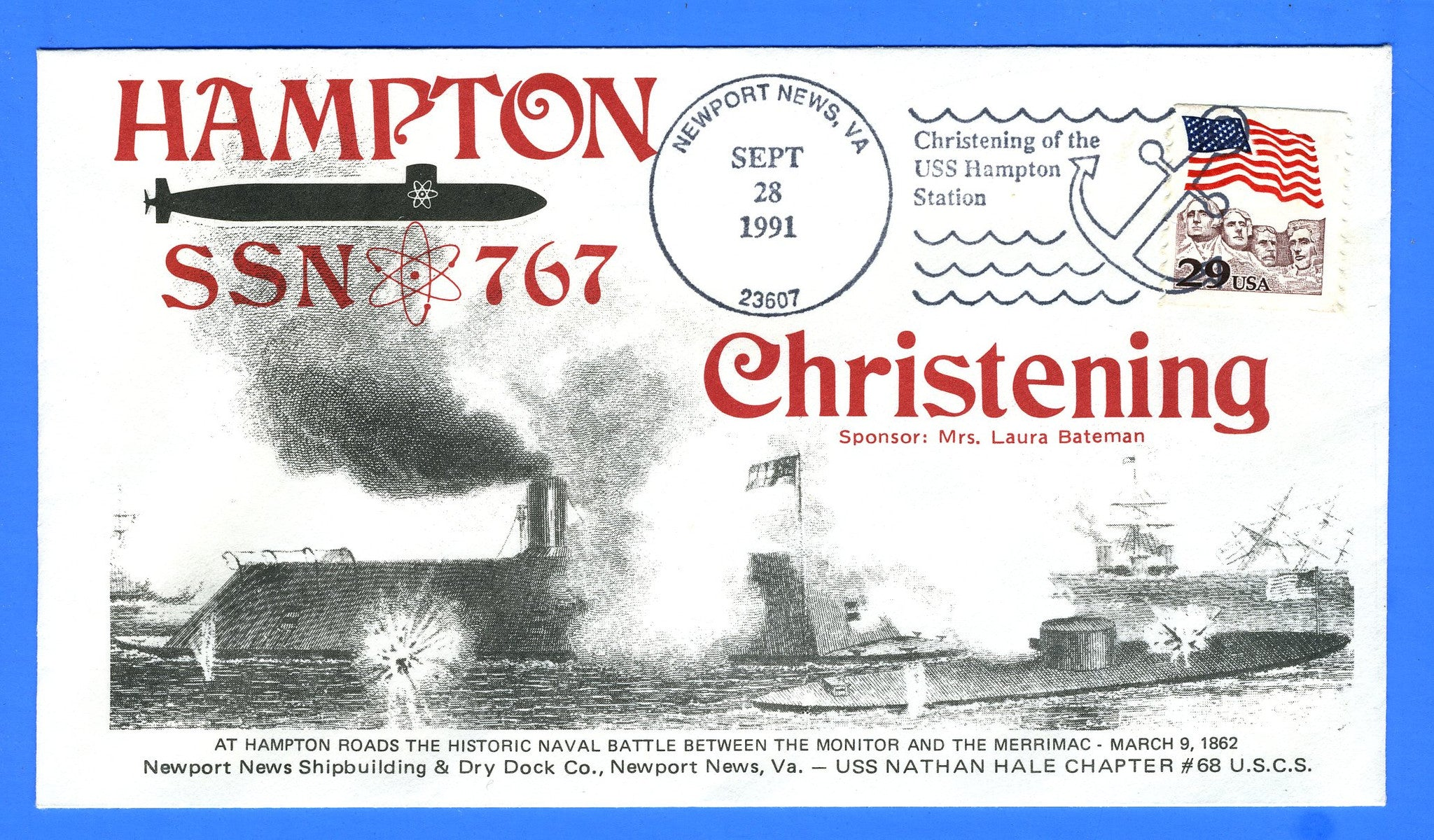 USS Hampton SSN-767 Christening September 28, 1991 - Cachet Maker USCS Chapter 68 USS Nathan Hale