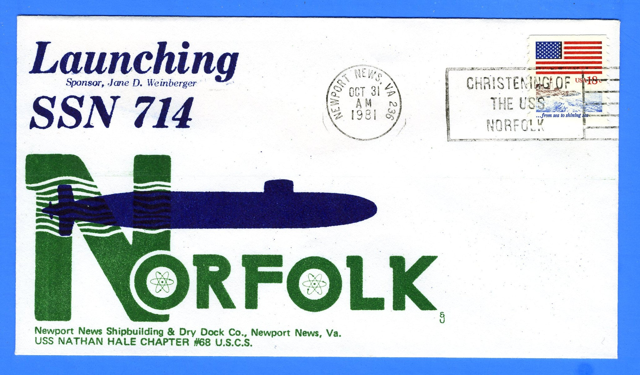 USS Norfolk SSN-714 Launched October 31, 1981