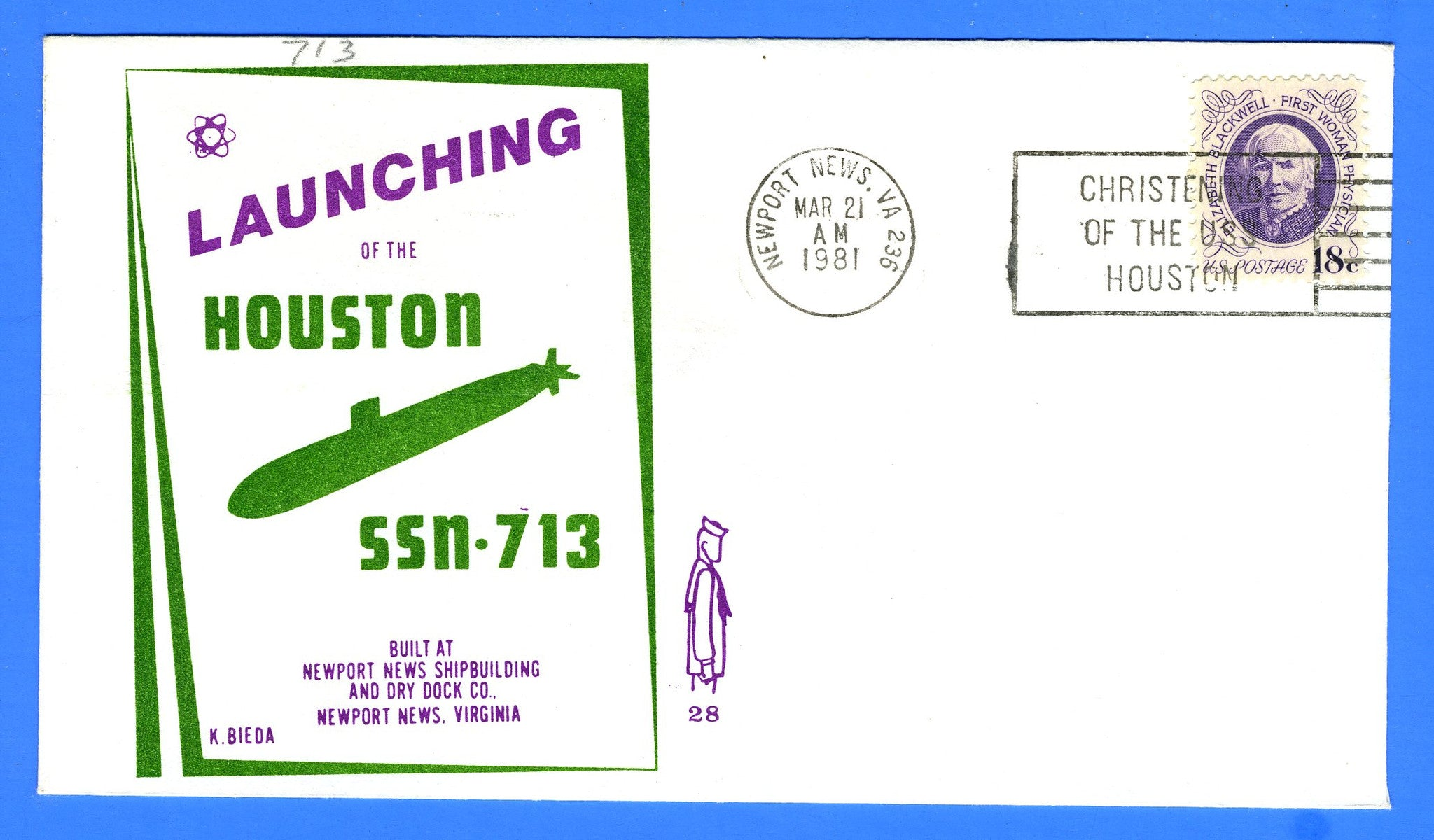 USS Houston SSN-713 Launched March 21, 1981 - Cachet by Ken Bieda