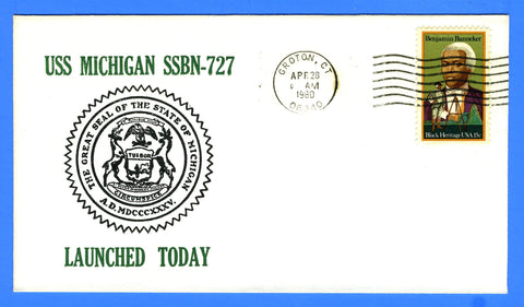 USS Michigan SSBN-727 Launched April 26, 1980 - Cachet by USS Decatur Chapter No. 4, USCS