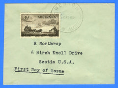 Australia - Scott 281 Cobb & Company Mail Coach Miniature First Day Cover Weston, New South Wales to Scotia USA