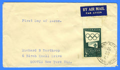 Australia - Scott 286 2s Melbourne Olympic Games First Day Cover to USA