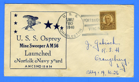 USS Osprey AM-56 Launched July 20, 1940 - USS Charleston PG-51 Cancel