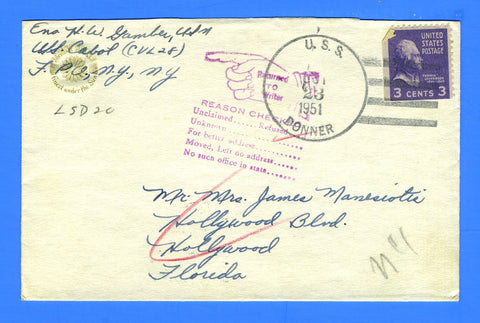 USS Cabot CVL-28 Sailor's Mail October 23, 1951 - USS Donner LSD-20 Cancel - Returned to Sender