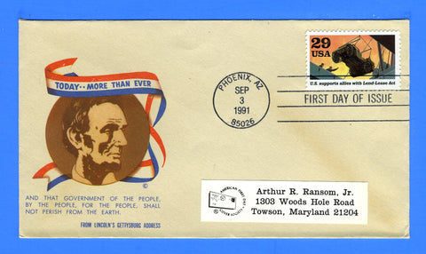 Scott 2559c Lend Lease Act First Day Cover on Minkus Patriotic