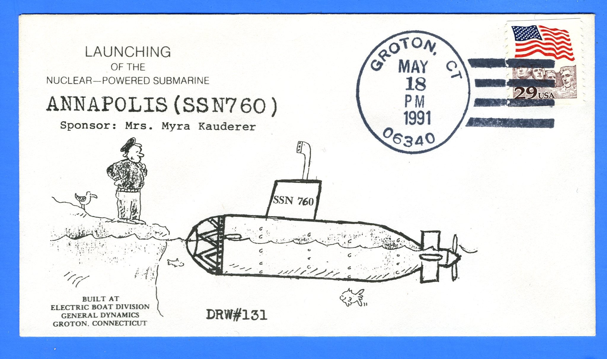 USS Annapolis SSN-760 Launched May 18, 1991 - DRW 131