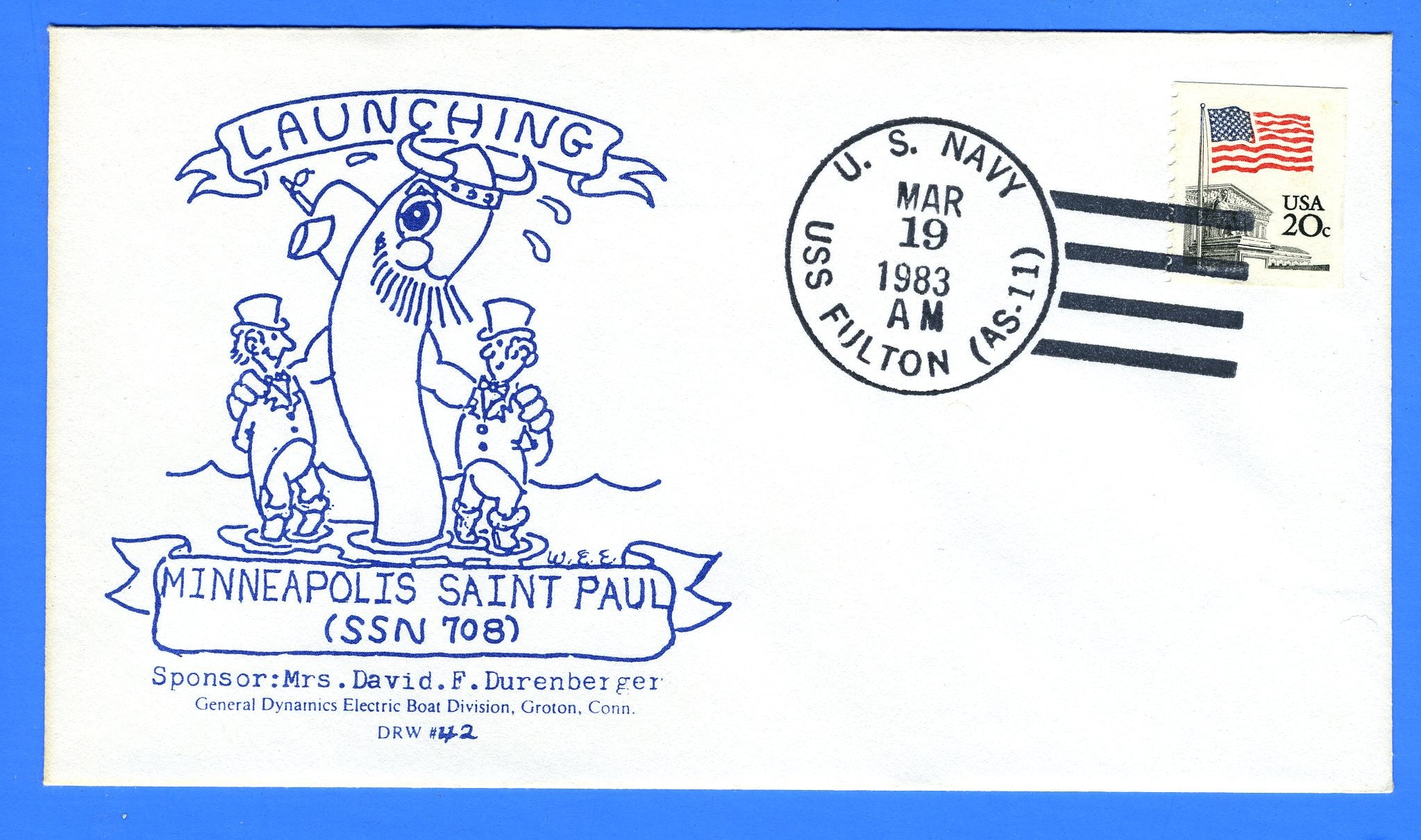 USS Minneapolis St Paul SSN-708 Launched March 1983 - USS Fulton AS-11 Cancel - DRW 42