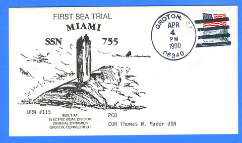 USS Miami SSN-755 First Sea Trial April 4, 1990 - DRW 115