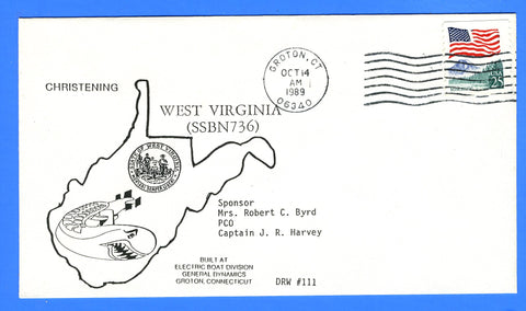 USS West Virginia SSBN-736 Christened October 14, 1989 - DRW 111