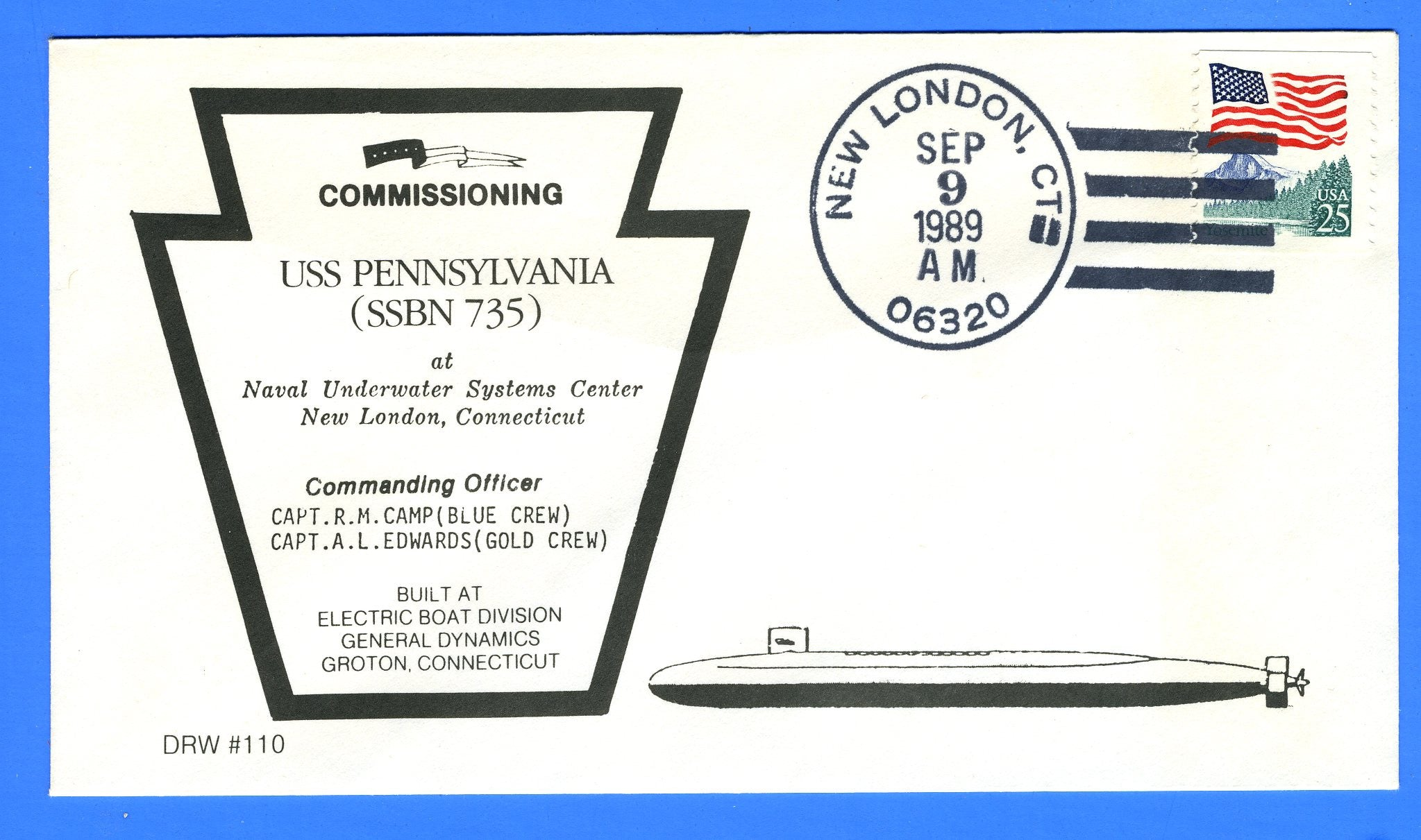 USS Pennsylvania SSBN-735 Commissioned Sep 9, 1989 - DRW 110