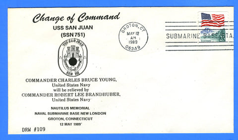 USS San Juan SSN-751 Change of Command May 12 1989 - DRW 109