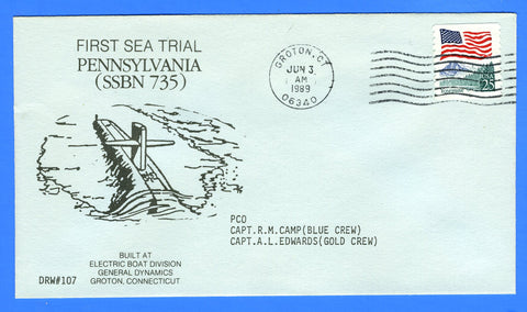 USS Pennsylvania SSBN-735 First Sea Trial June 3, 1989 - DRW 107