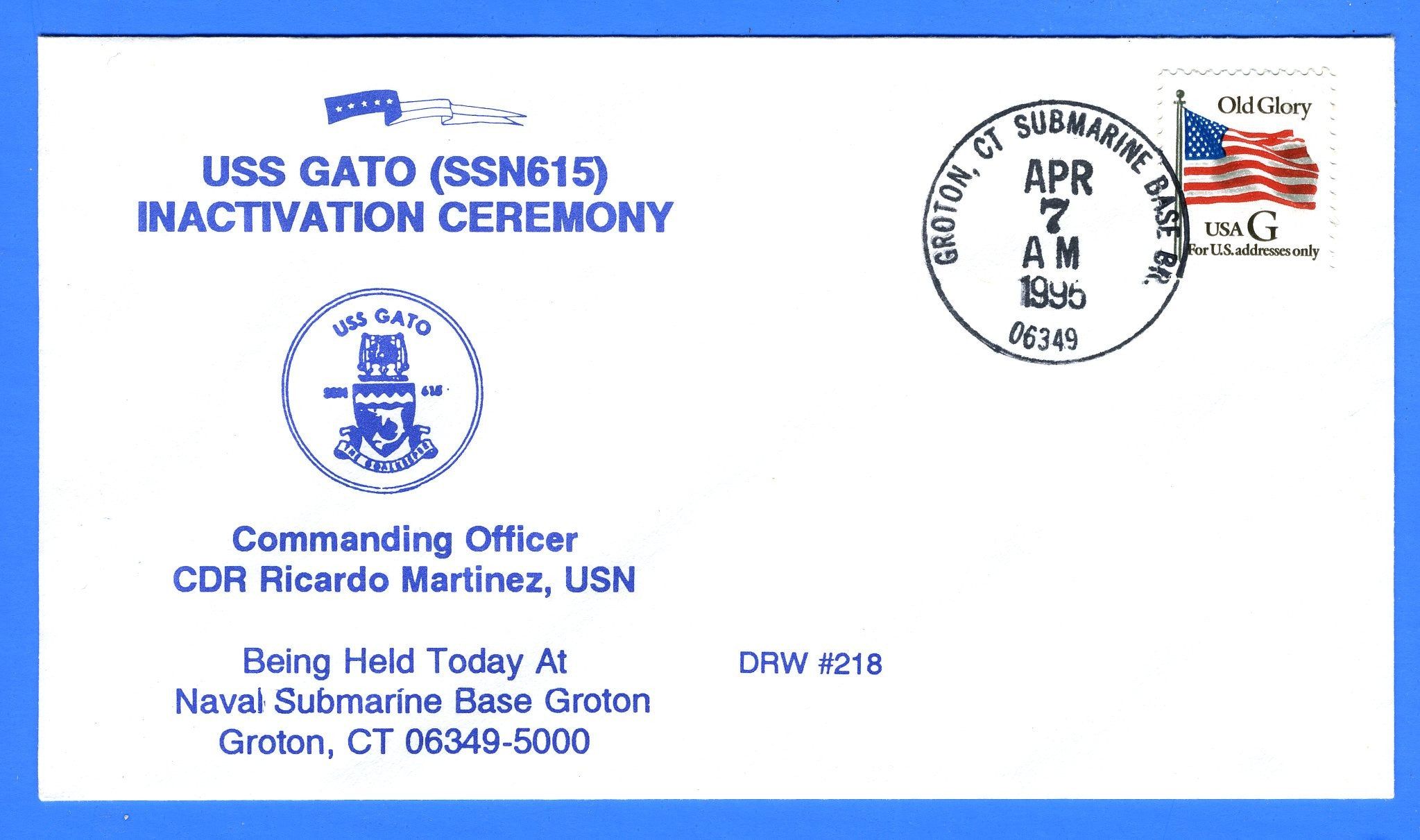 USS Gato SSN-615 Inactivation Ceremony Apr 7, 1995 - DRW 218