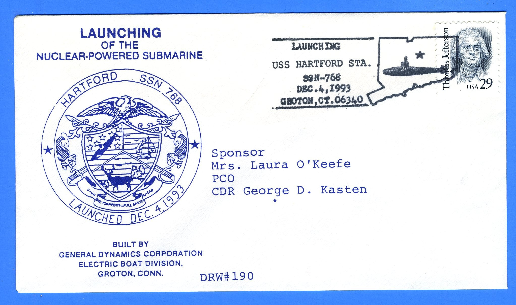 USS Hartford SSN-768 Launched December 4, 1993 - DRW 190