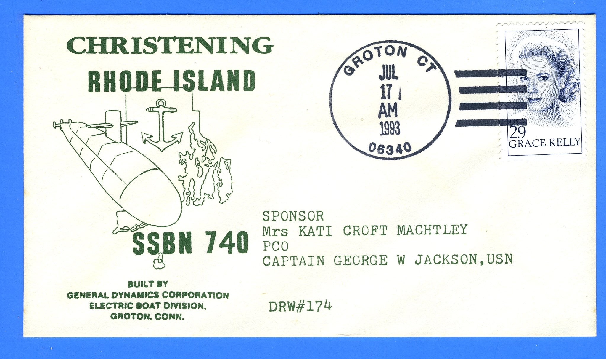 USS Rhode Island SSBN-740 Christened July 17, 1993 - Hand Cancel - DRW 174