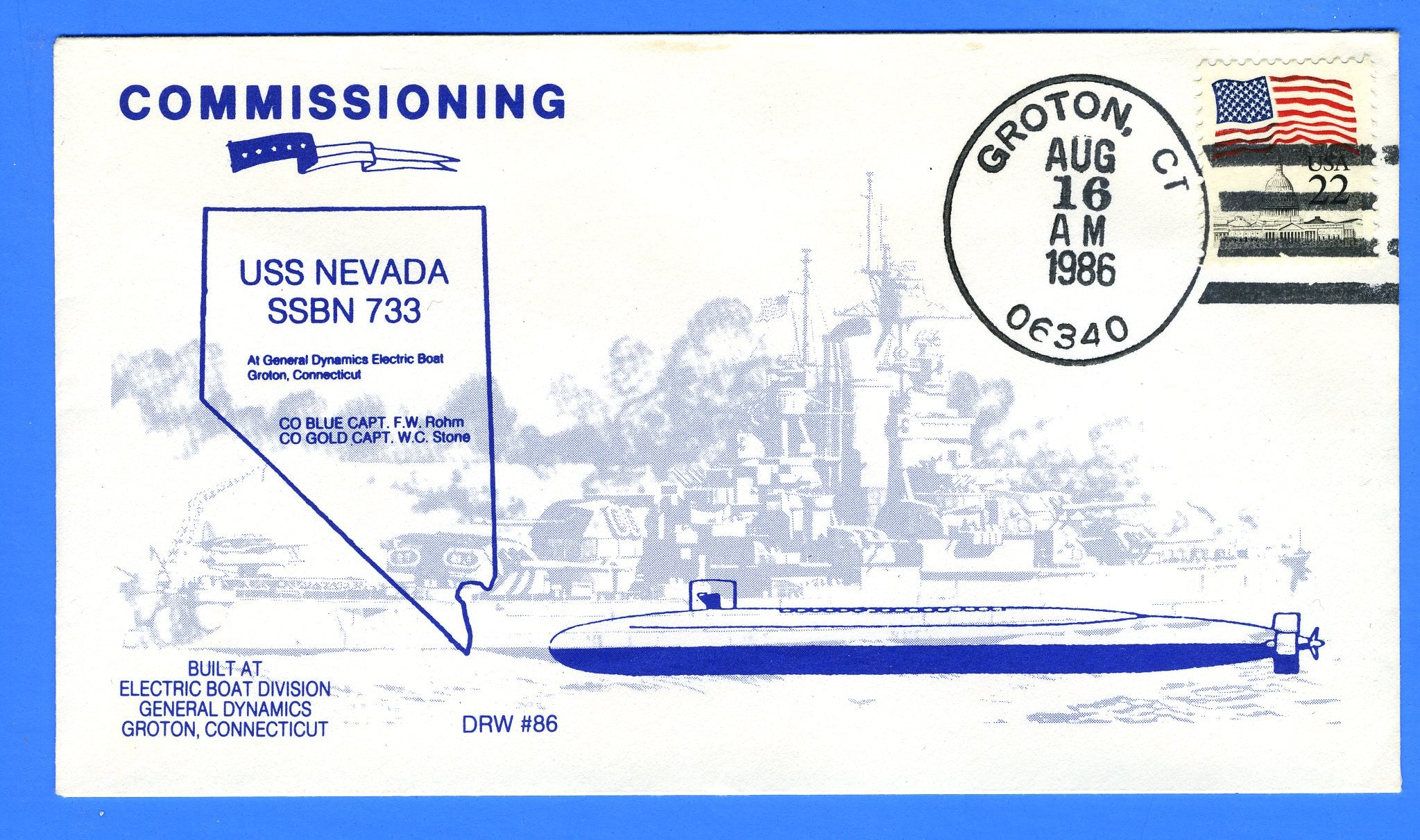 USS Nevada SSBN-733 Commissioned August 16, 1986 - Hand Cancel - DRW 86