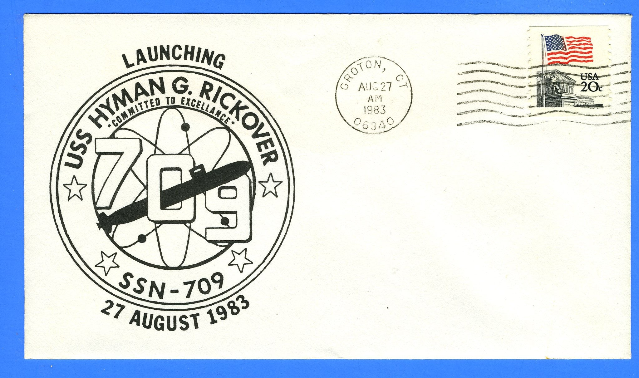 USS Hyman G Rickover SSN-709 Launched Aug 27, 1983 - DRW 46A