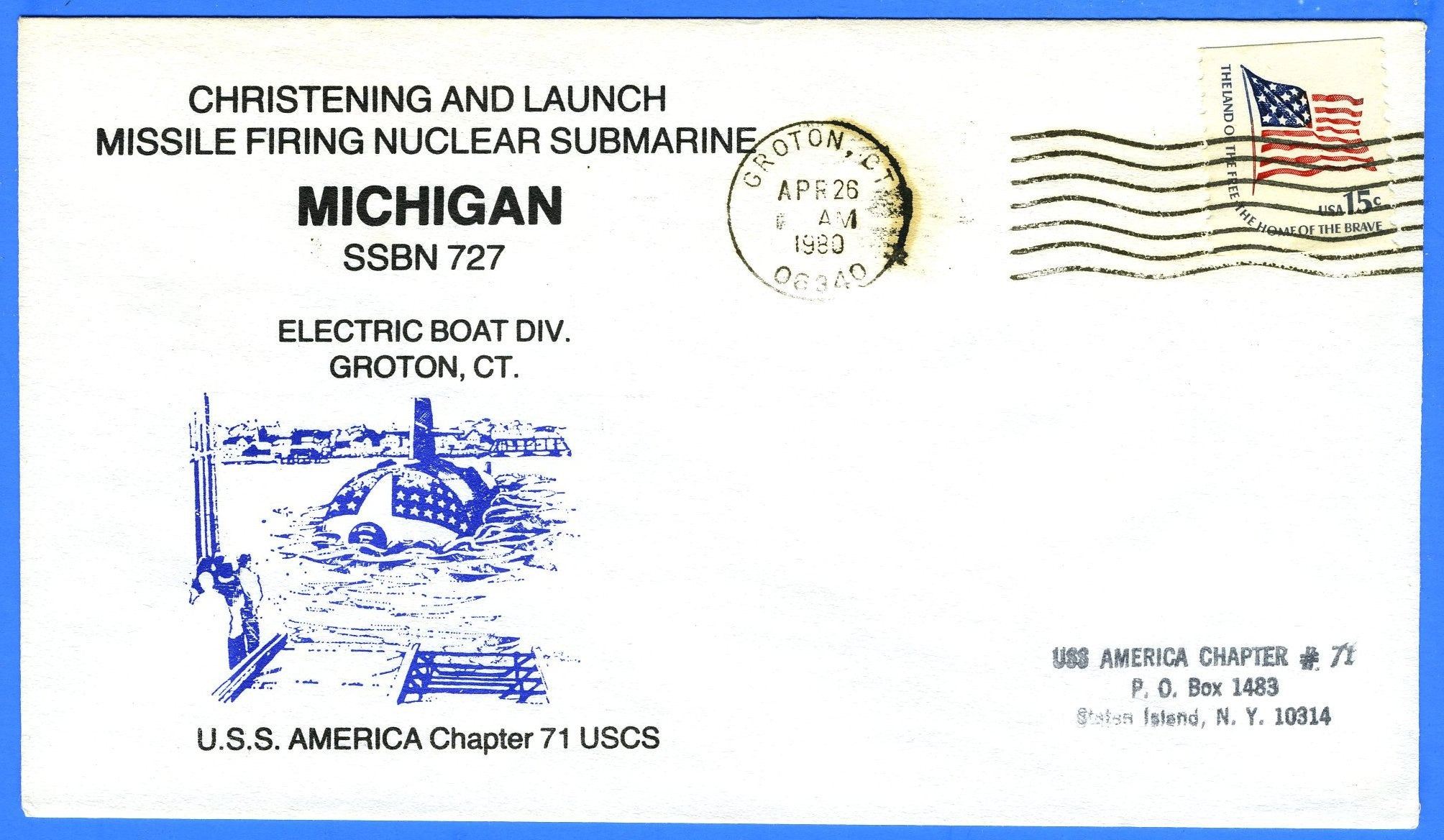 USS Michigan SSBN-727 Christened & Launched April 26, 1980