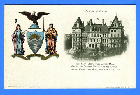 New York - Capitol at Albany Unused Postcard by E.C. Kropp, Milwaukee Copyright 1906