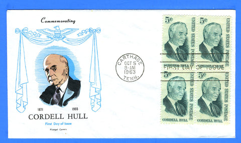 Scott 1235 5c Cordell Hull First Day Cover by Fluegel Covers - Block of Four