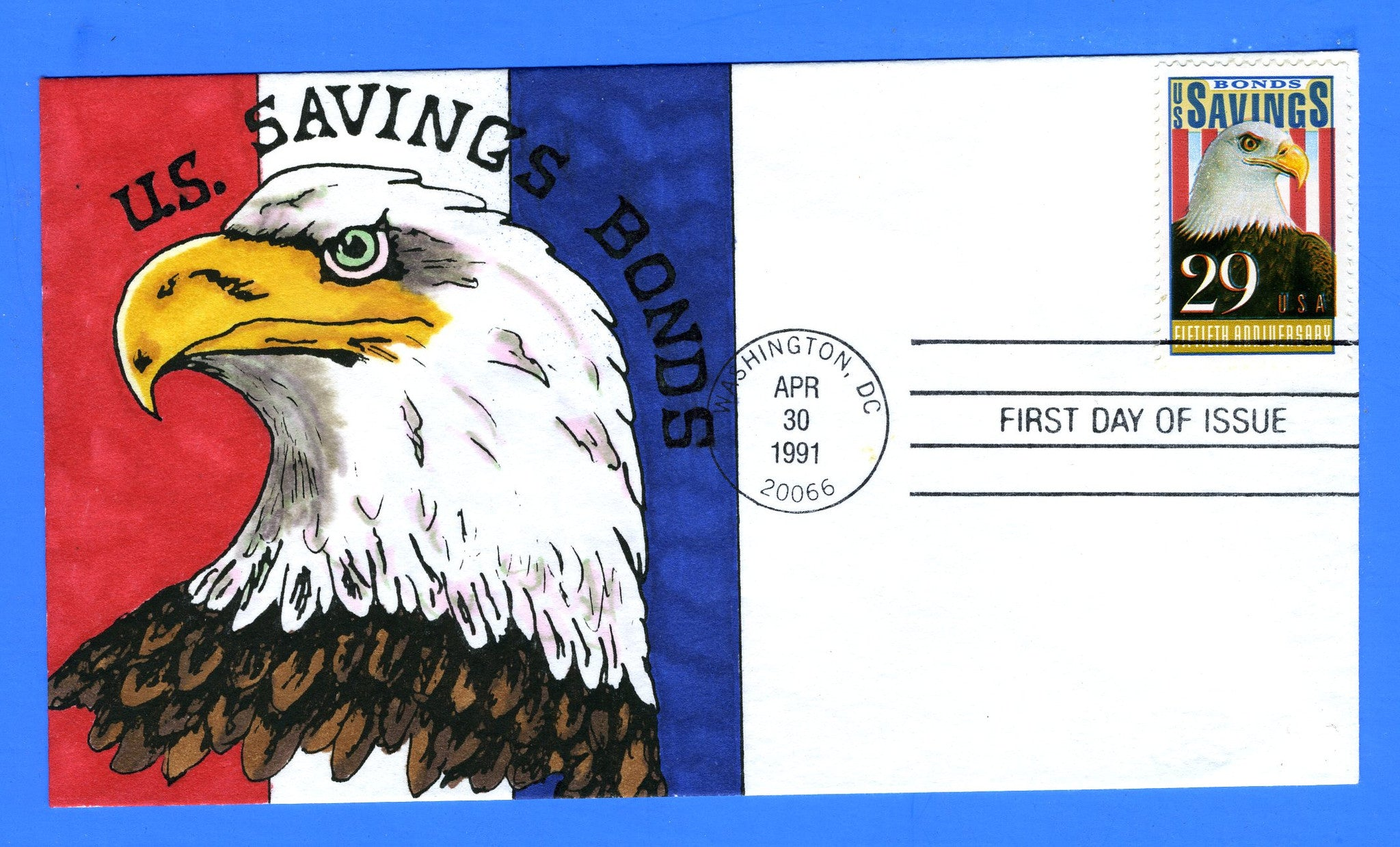 Scott 2534 29c Saving Bonds Hand Painted First Day Cover Unattributed