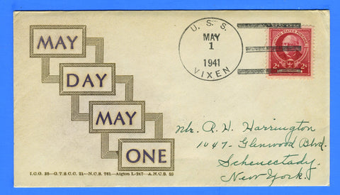 USS Vixen PG-53 (Gunboat) May Day May 1, 1941 - Linto Cachet No. 140, Covers Issued 100, Cover No. 97