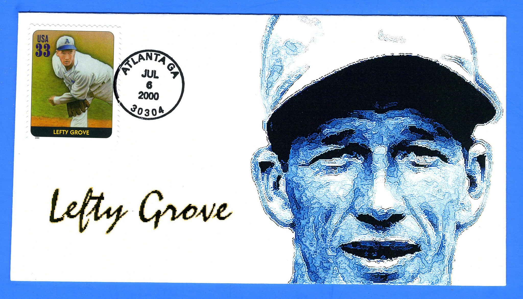 Scott 3408k 33c Lefty Grove, Legends of Baseball First Day Cover by Great Southern Cover Co