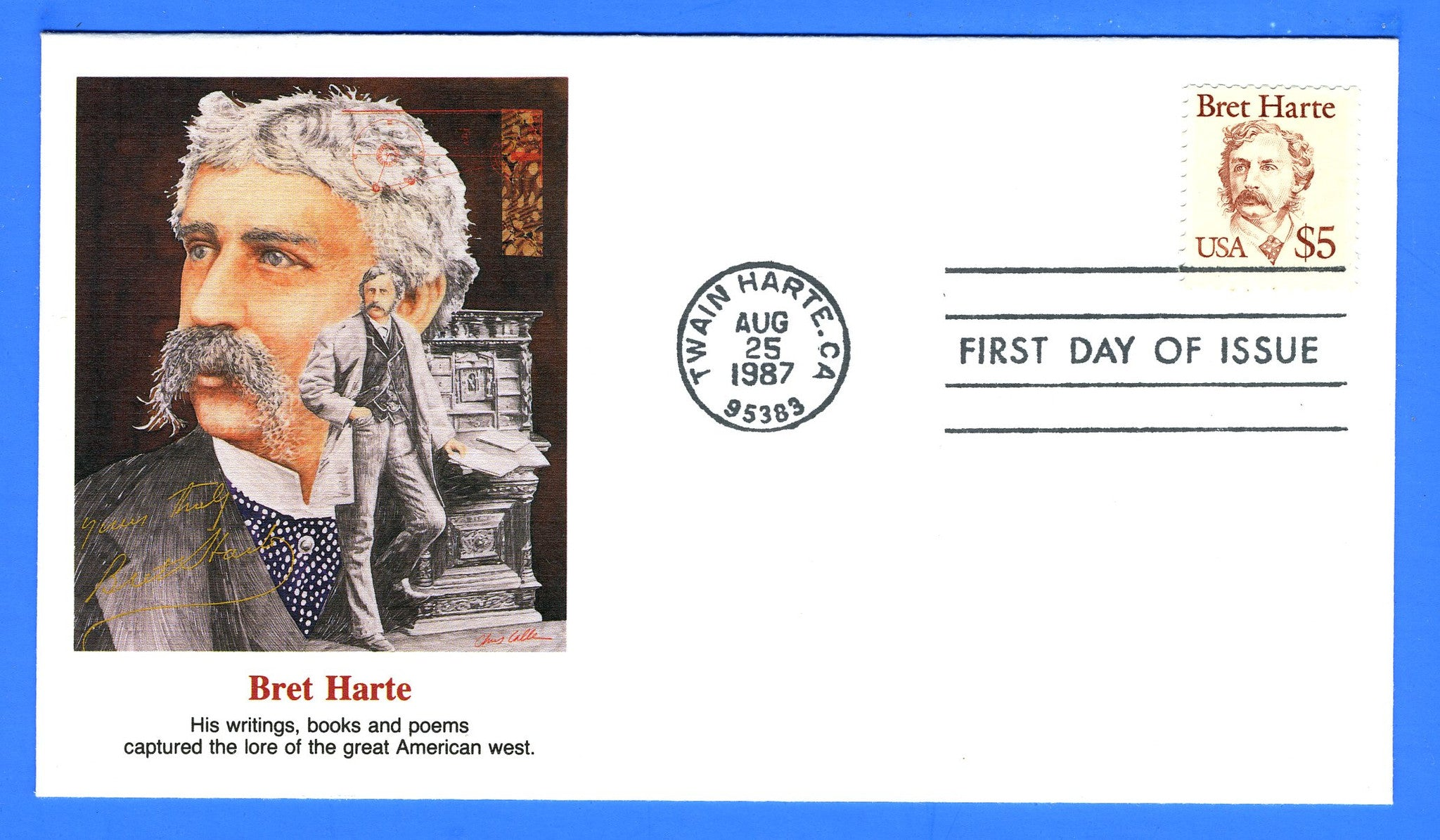 Scott 2196 $5 Bret Harte First Day Cover by Fleetwood