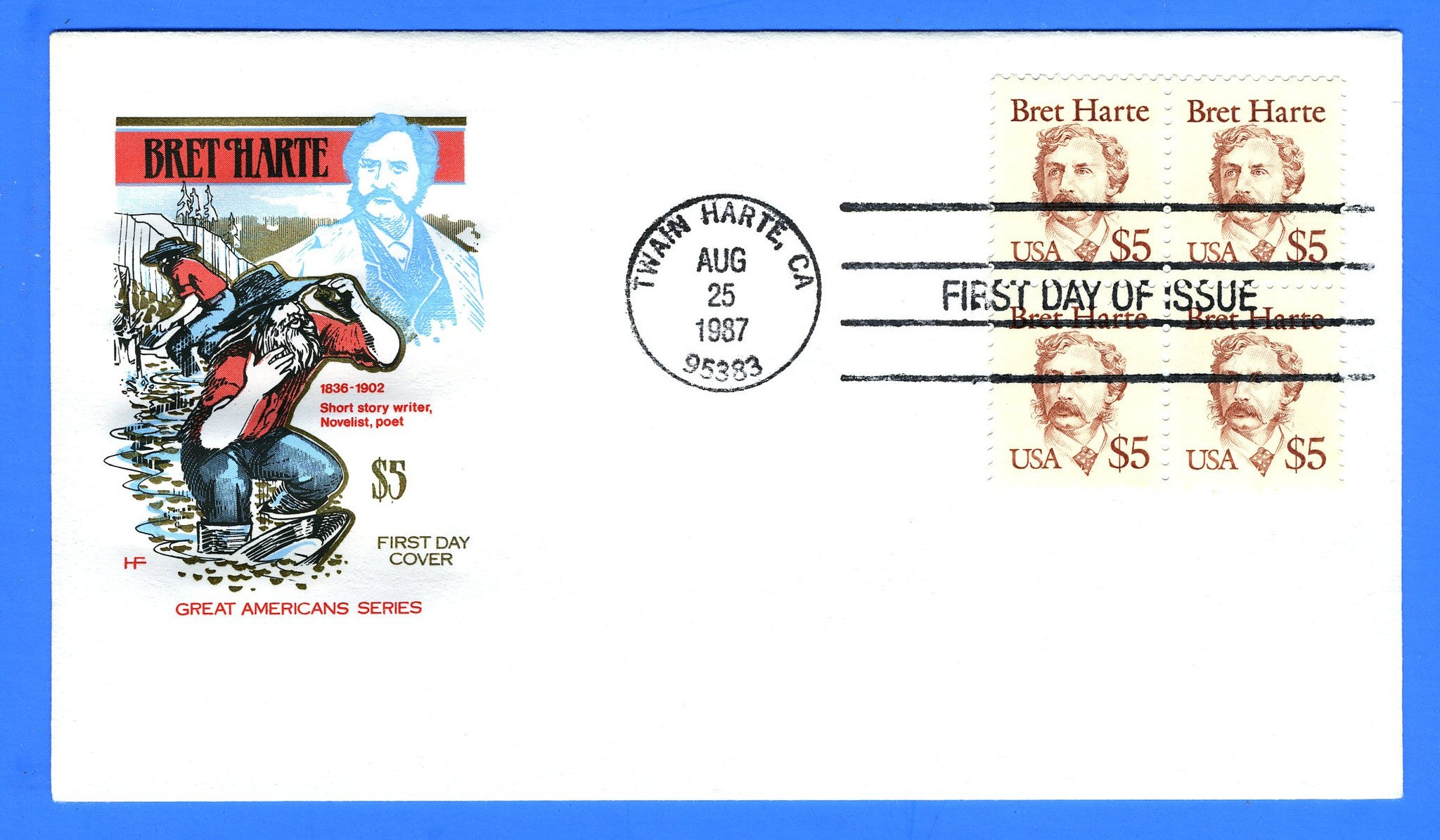 Scott 2196 $5 Bret Harte First Day Cover by House of Farnum - Block of 4