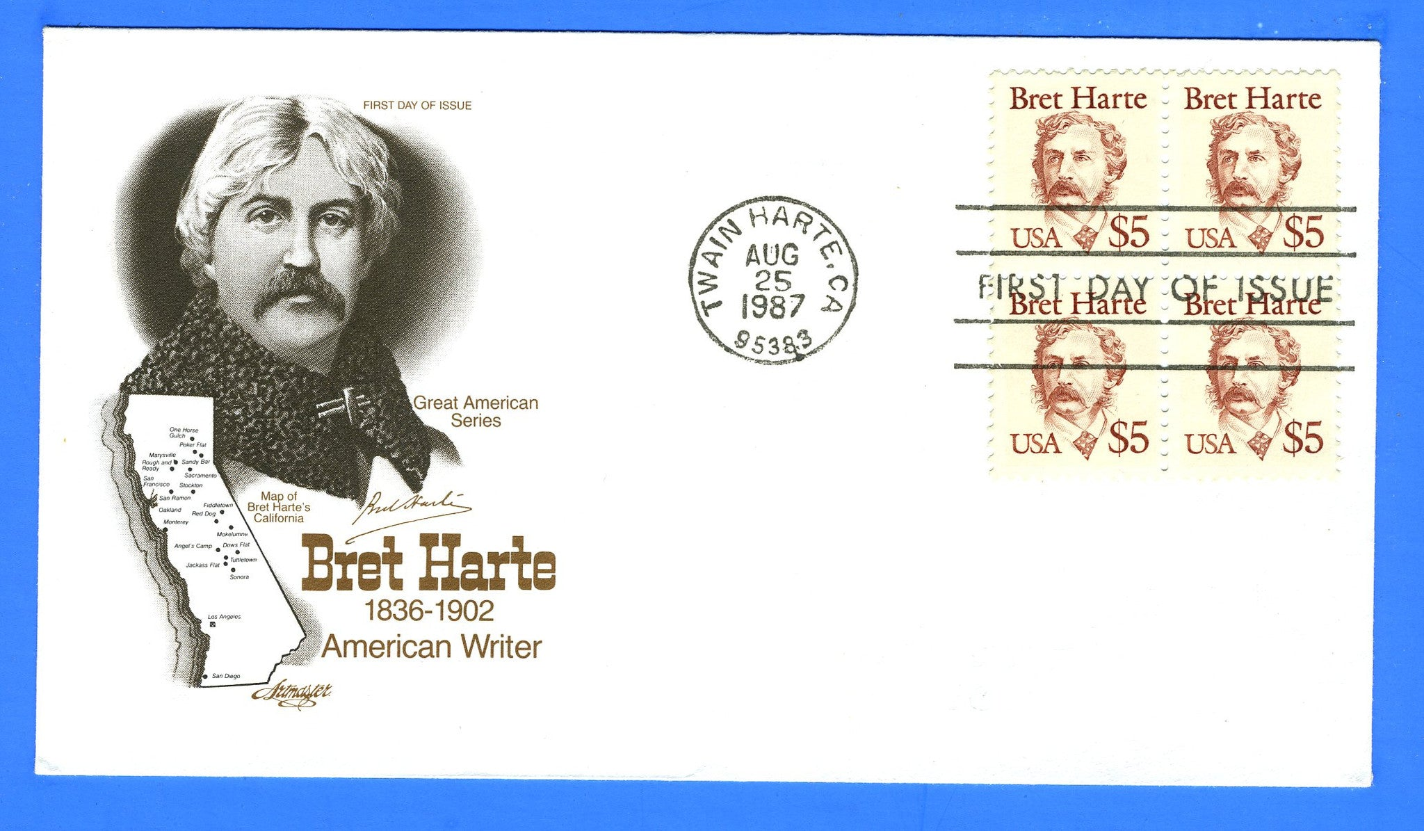 Scott 2196 $5 Bret Harte First Day Cover by Artmaster - Block of 4