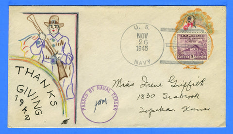 Sailor's Censored Mail Hand Drawn Cachet Thanksgiving November 26, 1945
