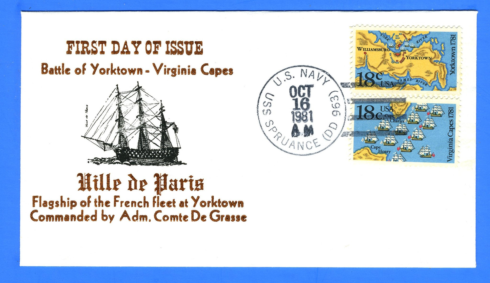 Scott 1938a Battles Yorktown & Virginia Capes First Day Cover w/Unofficial USS Spruance DD-963 First Day Cancel