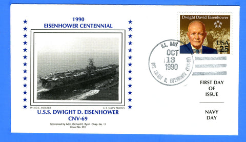 Scott 2513 25c Dwight D Eisenhower First Day Cover with Unofficial USS Dwight D. Eisenhower Cancel