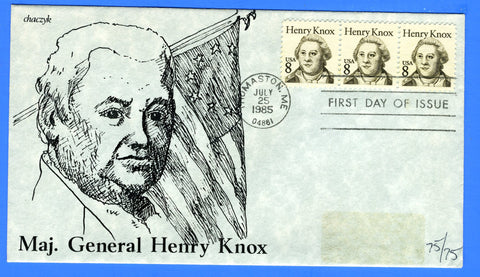 Scott 1851 Henry Knox First Day Cover by chaczyk - Note Removed Label Stain