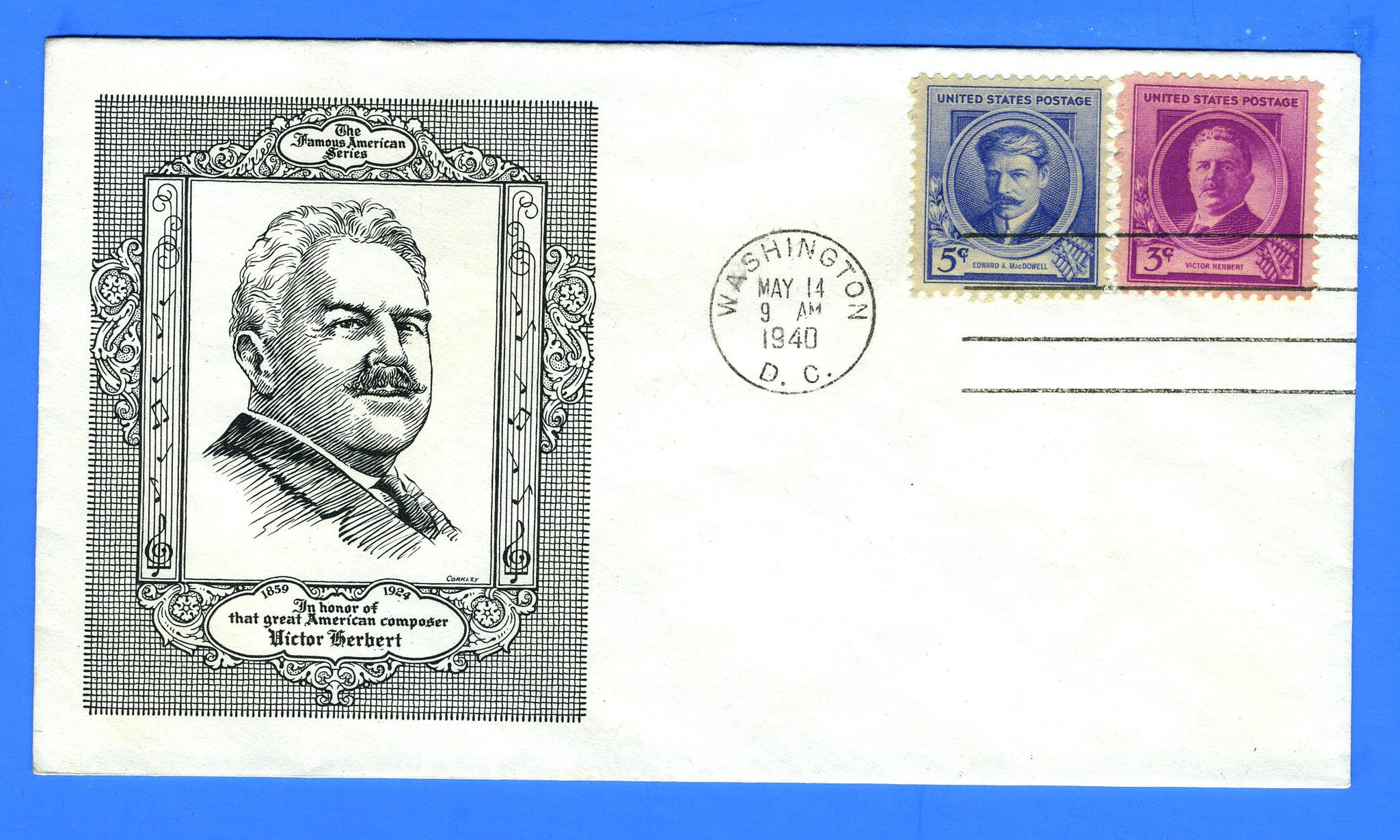 Scott #881 & 882 Victor Herbert & Edward MacDowell Dual Issue Historic Arts First Day Cover