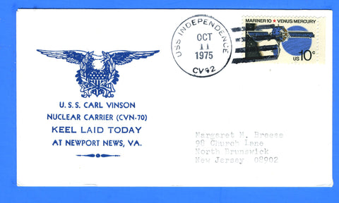 USS Carl Vinson CVN-70 Keel Laid October 11, 1975 - USS Independence CV-62 - Cachet by Tazewell G. Nicholson