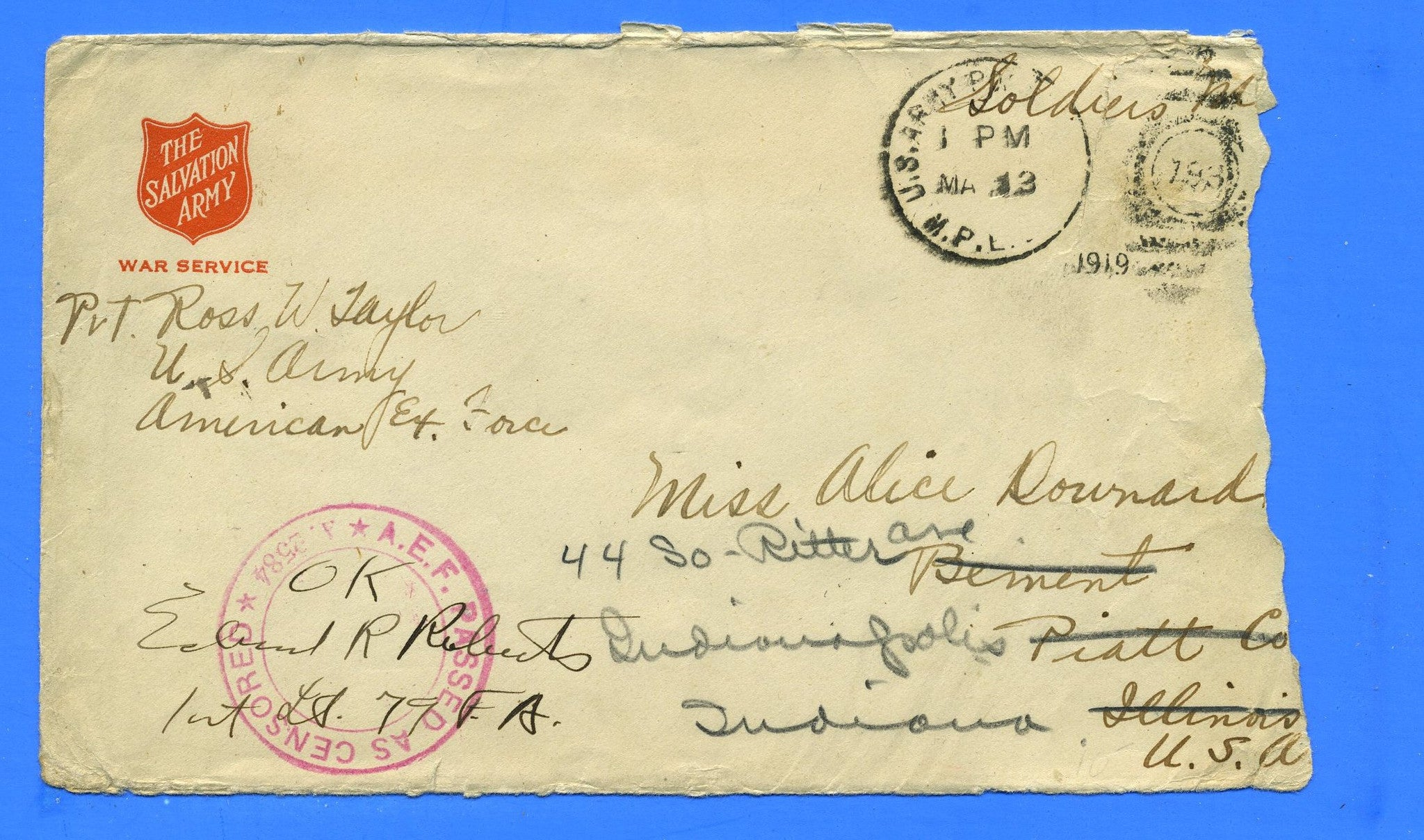 "Soldier's ""Free"" Censored Mail American Expeditionary Force May 13, 1919"