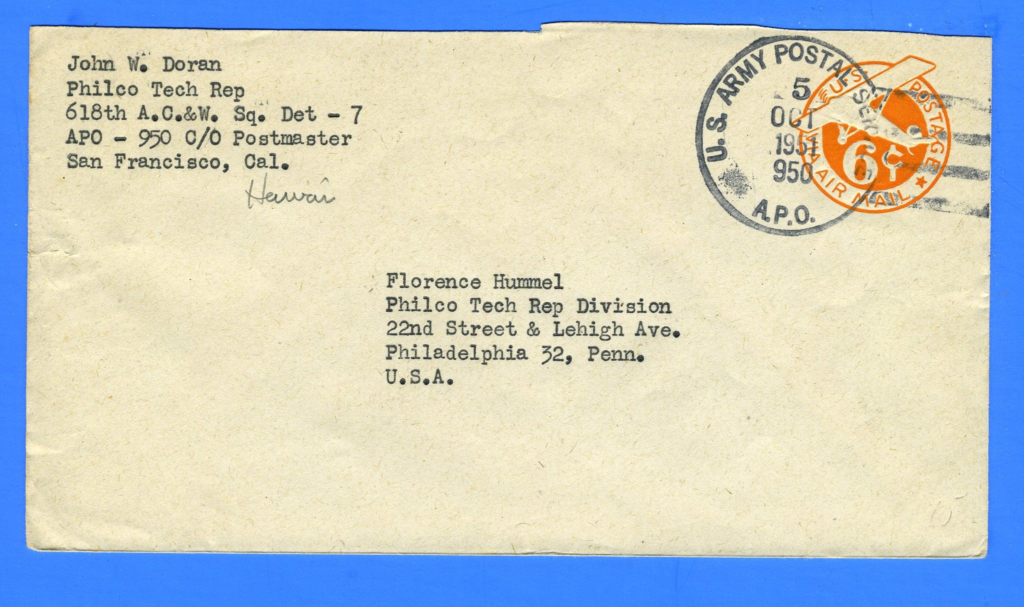Soldier's Mail APO 950 Fort Armstrong, Hawaii October 5, 1951