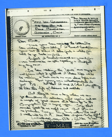 USS South Dakota BB-57 Marine's V Mail Marine Detachment September 21, 1944