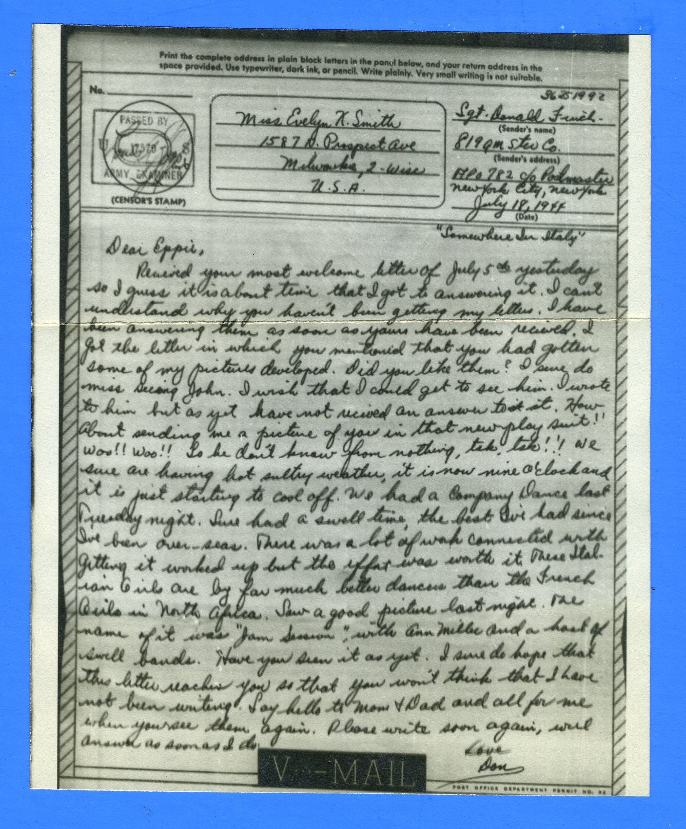 Soldier's V Mail APO 782 Naples, Italy July 18, 1944