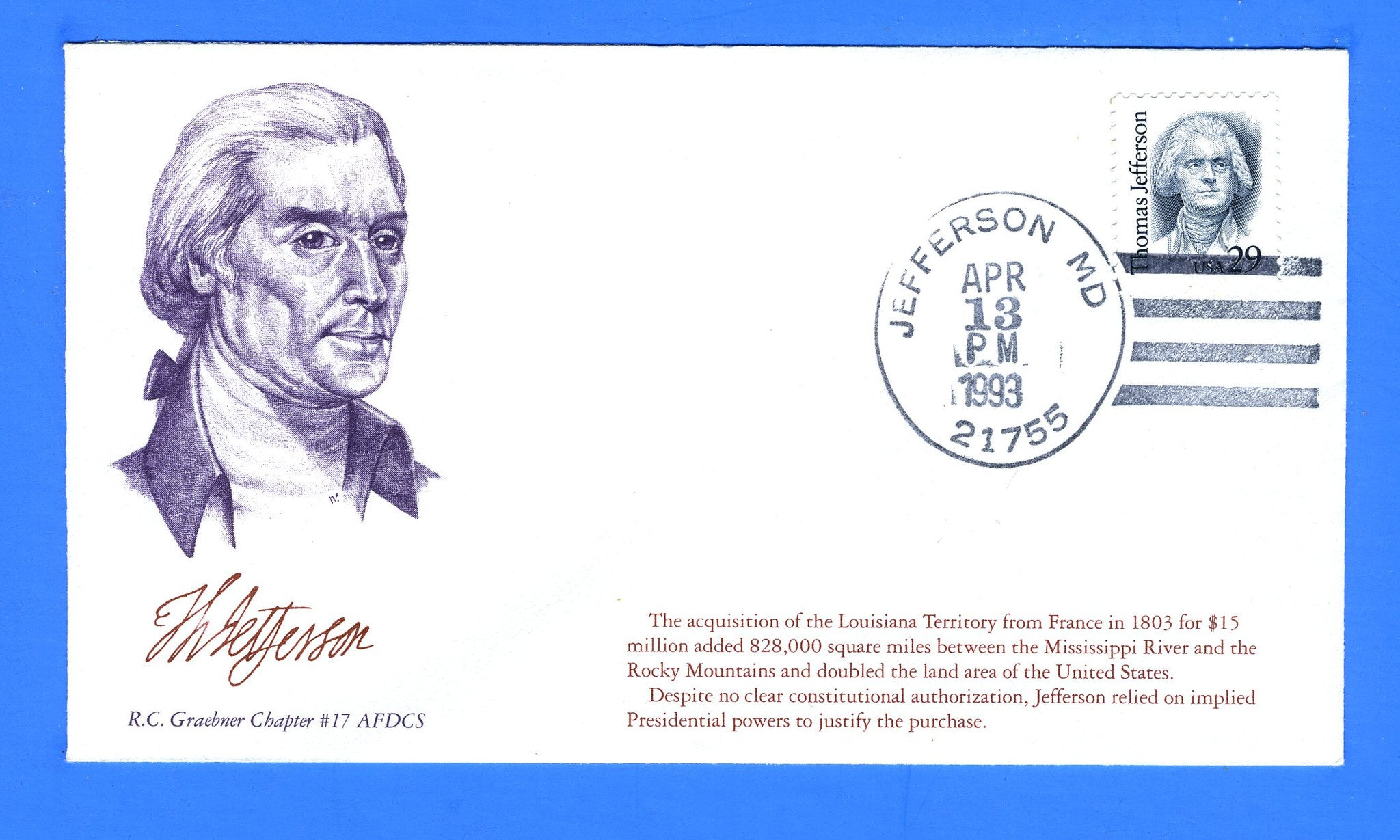 Scott 2185 29c Thomas Jefferson First Day Cover by R.C. Graebner Chapter of the AFDCS - Unofficial Jefferson, MD Cancel