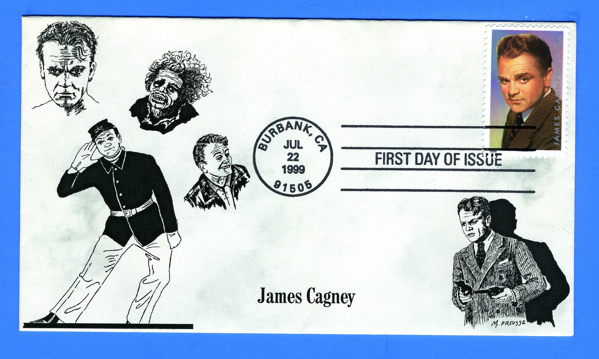 Scott 3329 33c James Cagney First Day Cover by S & T Cachets