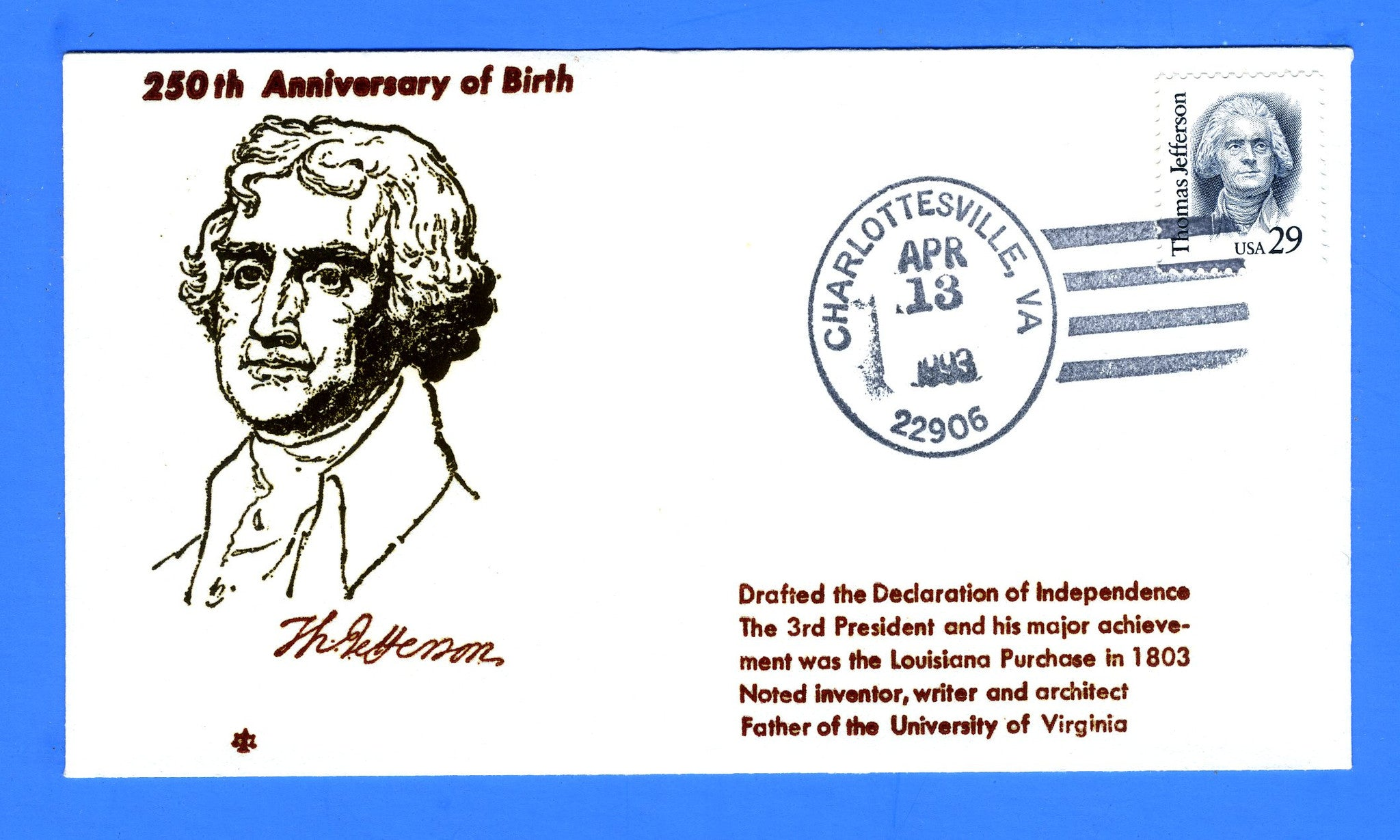 Scott 2185 29c Thomas Jefferson First Day Cover by Blair Law - Unofficial Charlottesville, VA Cancel