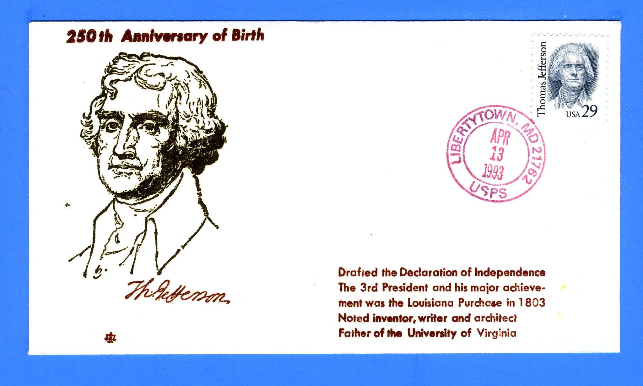 Scott 2185 29c Thomas Jefferson First Day Cover by Blair Law - Unofficial Libertytown, MD Cancel