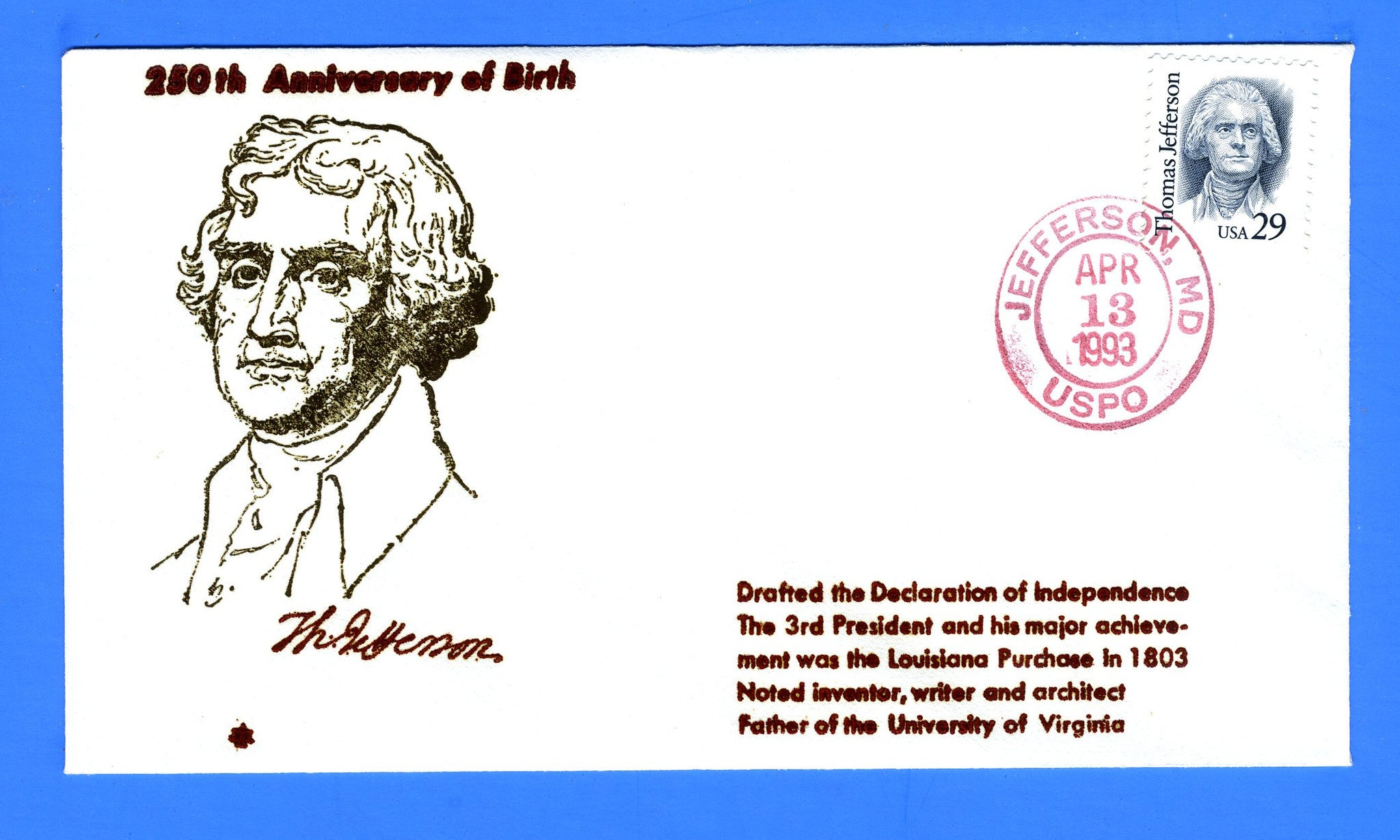 Scott 2185 29c Thomas Jefferson First Day Cover by Blair Law - Unofficial Jefferson, MD Cancel