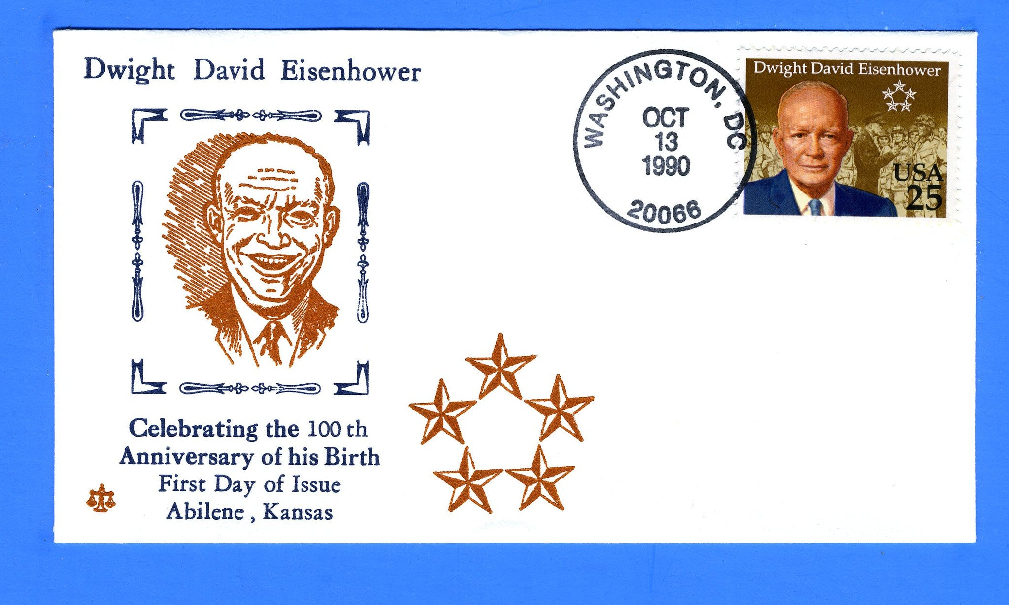 Scott 2513 25c Dwight D Eisenhower FDC by Blair Law - Unofficial Washington, DC