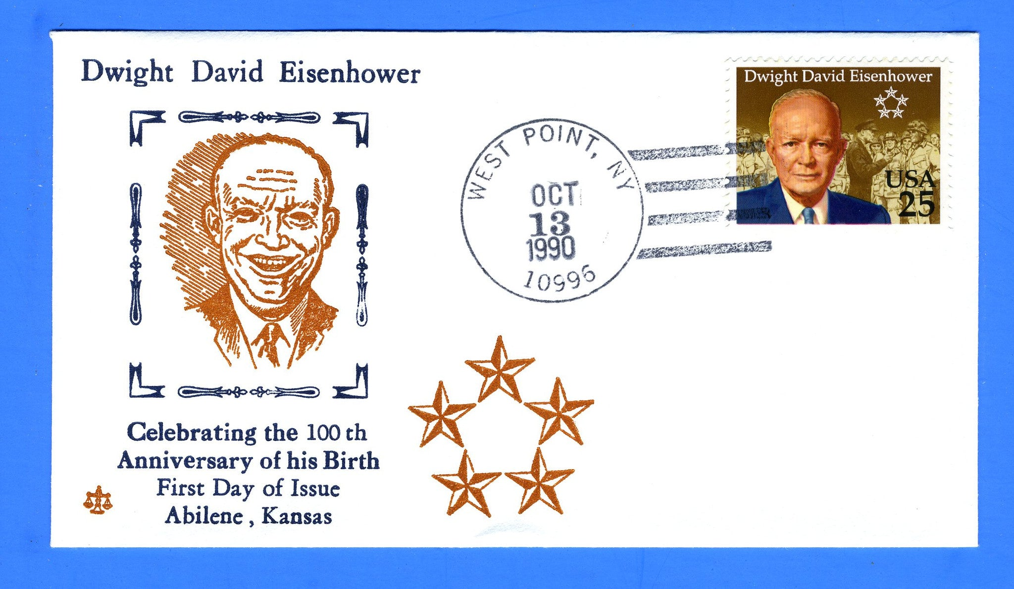 Scott 2513 25c Dwight D Eisenhower FDC by Blair Law - Unofficial West Point, NY Cancel