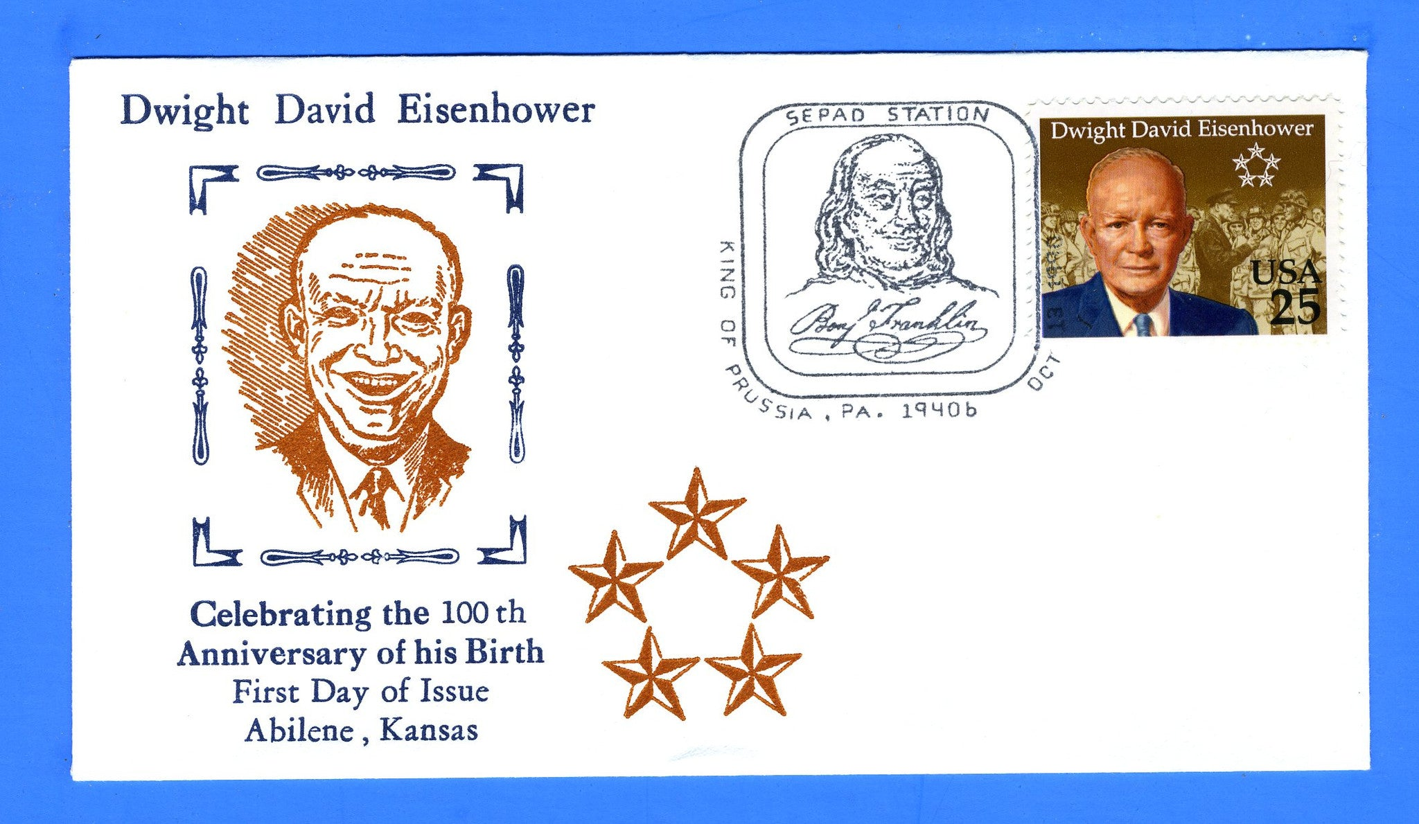 Scott 2513 25c Dwight D Eisenhower FDC by Blair Law - Unofficial King of Prussia, PA Cancel